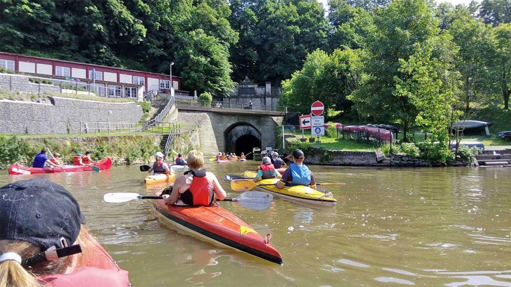 Einfahrt zu dem Schiffstunnel in Weilburg